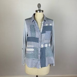 Anthropologie One September Patchwork Button Down